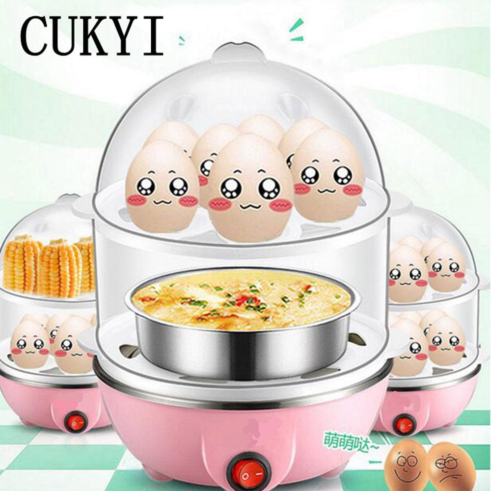 CUKYI Multi-functional egg boiler small steaming Breakfast machine Automatic power-off Double layers mini cooker Disinfection cukyi double layer multi function electric egg cooker boiler stainless steel automatic power off mini