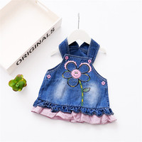 2017 New Casual Spring Baby Infants Girls Kids Strap Flower Embroidery Pattern Sleeveless Denim Dress Vestidos