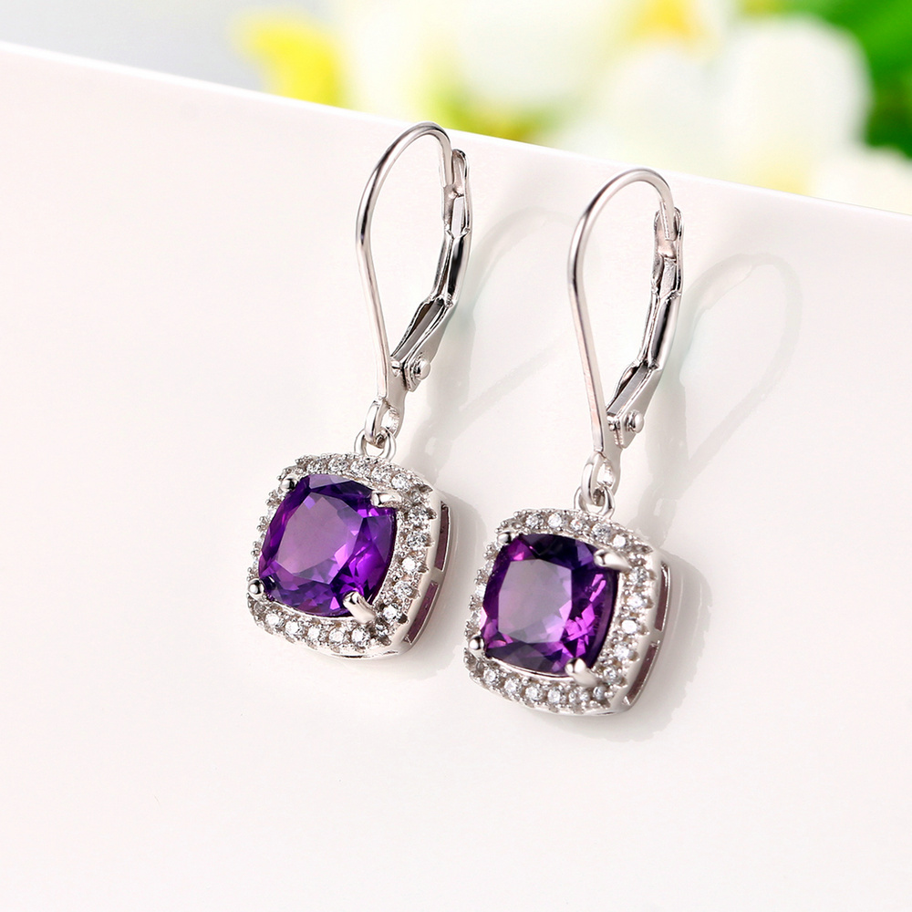 MoBuy MBEI001 Cushion Natrual Gemstone Amethyst Drop/Dangle Earring - Fine Jewelry - Photo 6