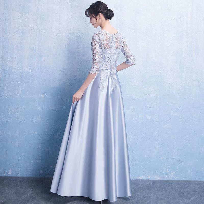 Noble Gray Female Ankle-Length Evening Dress Novelty O-Neck Improved Qipao Vestidos Elegant Banquet Annual Party Gowns XS-XXL