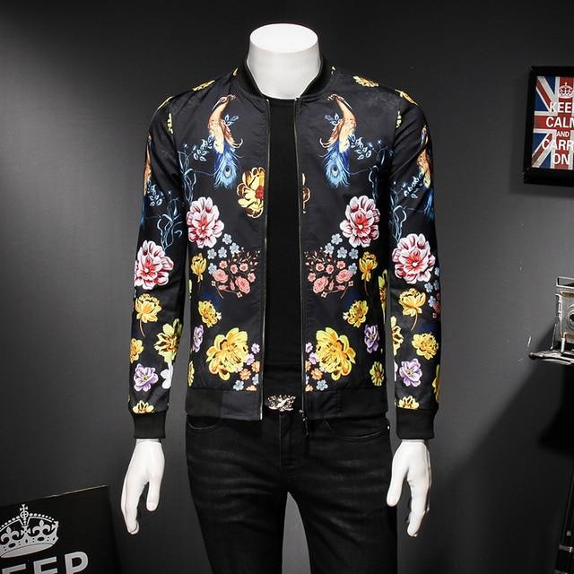 new style 17bcb 343ee US $60.56 |Gold Schwarz Weiß Bomberjacke Floral Vogel druck kleid Männliche  Jacke Frühling Herbst Modedesigner Vintage Jacke Männer Club Outfit 5xl in  ...