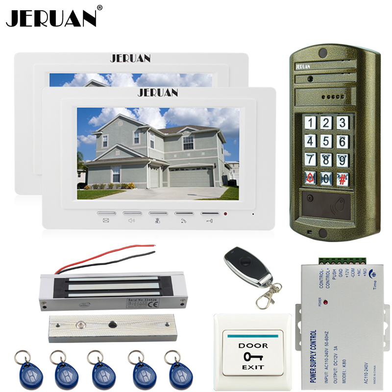 JERUAN 7 inch TFT Video DoorPhone Intercom System kit Metal Waterproof Access Password HD Mini Camera + 180KG Magentic lock 1V2