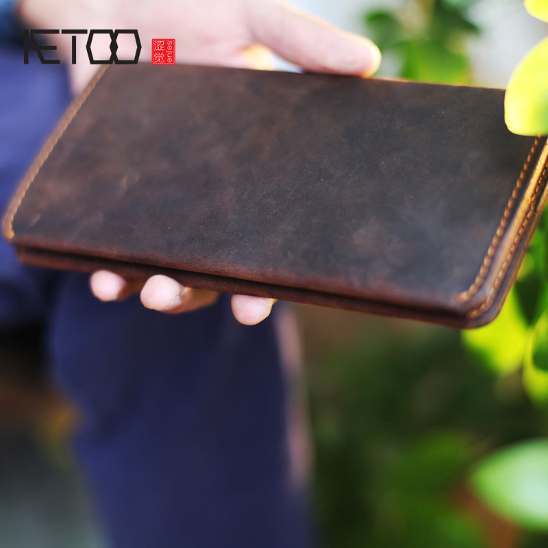 AETOO Leather wallet wallet men's long section retro handmade whole leather ultra-thin simple twisted Vintage wallet women 1 black pu leather ladies long section of ultra thin magnetic buckle multi card wallet wallet size about 19 9 5 2cm