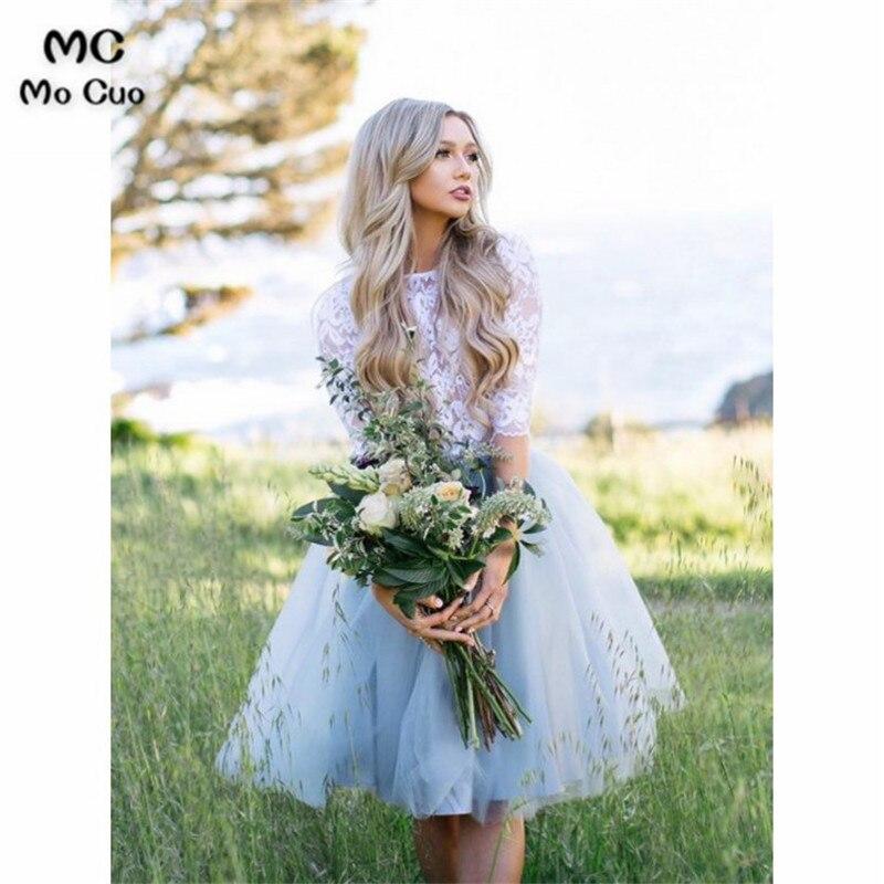 2019 3/4 Sleeves Short   Bridesmaid     Dress   Maid of Honer Tulle Wedding Party   Dress   Pleated Zipper Back Women's   Bridesmaid     Dress