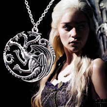 Game Of Thrones Daenerys Targaryen Drago Collana Cronache Del Ghiaccio e del Fuoco e Sangue Collana Pendenti con gemme e perle Accessori Cosplay Figura(China)
