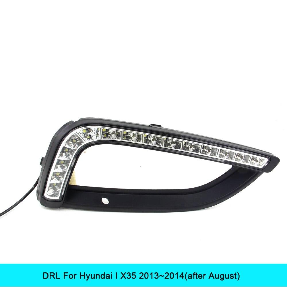 ДХО автомобильный комплект для Хендай ix35 2013 2014 светодиодные дневные ходовые свет бар супер яркий авто противотуманные лампы дневного света кри автомобиля Сид DRL 12В