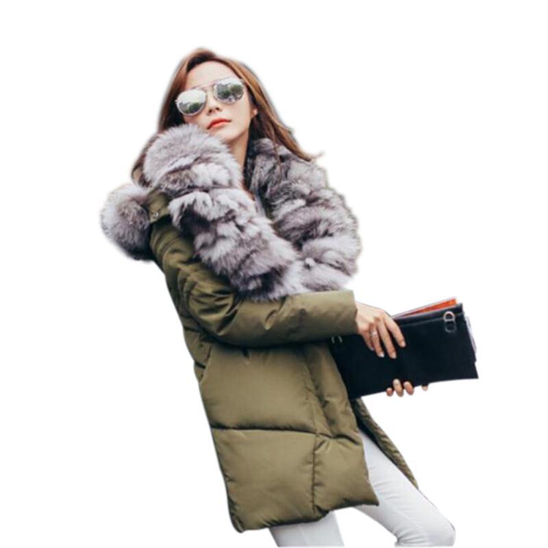 Hiver Européen D'importation Manteau army Réel Chaud Style Col Blanc Fourrure bleu noir Haute Femelle Survêtement Nouveau De Mode Qualité Fox Femmes 2018 Green qw6gIWEn
