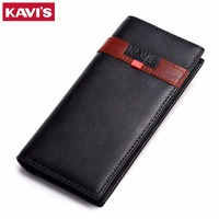 KAVIS High Quality Genuine Leather Wallets Men Organizer Cowhide Leather Long Phone Holder Coin Bag Card