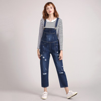 Plus Size Jumpsuit Women Ankle Length Pants Casual Straight Ripped Hole Denim Rompers Womens Jumpsuit