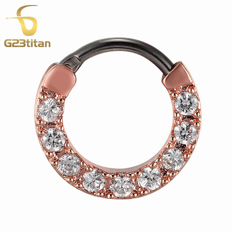 G23titan עלה זהב צבע לייסי קריסטל מחץ טבעת צריח Clicker האף טבעת טיטניום פיר גוף פירסינג תכשיטים