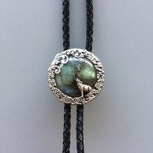 New JEAN'S FRIEND Original Vintage Silver Plated Nature Labradorite Stone Moon Wolf Bolo Tie Each Stone is Unique