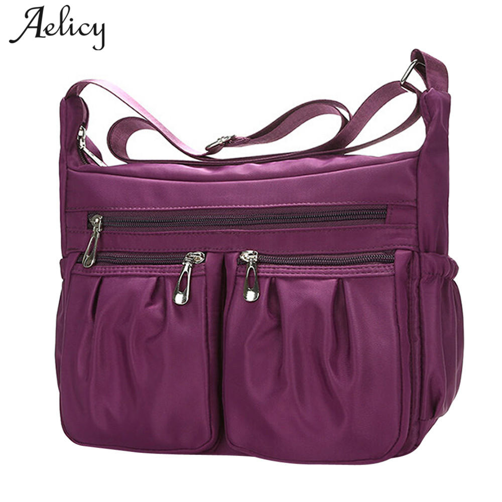 Aelicy New 2018 Casual Nylon Bag Shoulder Bags Messenger Multilayer Bag Waterproof Nylon Lady Mom Casual Handbag bolsas feminina dark colour metal nylon messenger bag