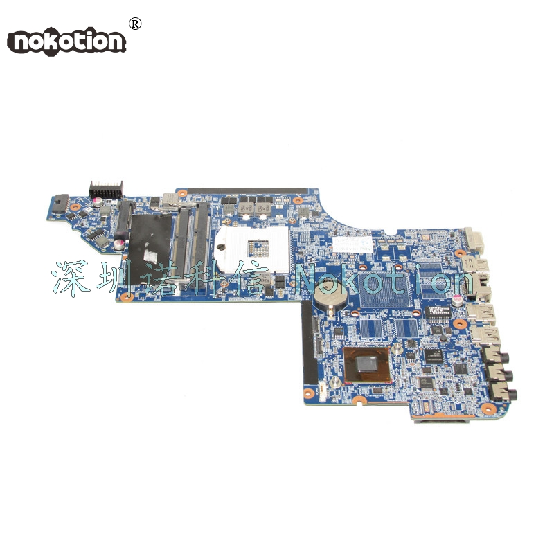NOKOTION 641490-001 Main Board For Hp Pavilion DV6 DV6-6000 Laptop Motherboard HM65 GMA HD3000 DDR3 nokotion 645386 001 laptop motherboard for hp dv7 6000 notebook pc system board main board ddr3 socket fs1 with gpu