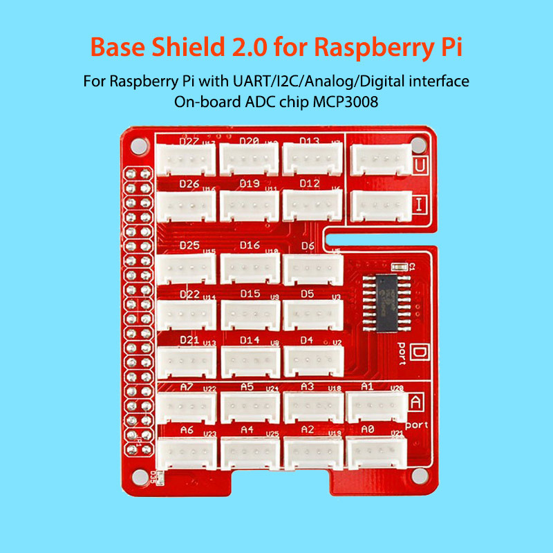 Elecrow Base Shield V2 0 for Raspberry Pi 3 UART/I2C/Analog/Digital  interface On-board ADC Chip MCP3008 DIY Kit