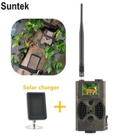 Suntek HC300M Photo Camera Traps Motion Triggered Trail Camera For Wildlife with external solar charger power pack long antenna