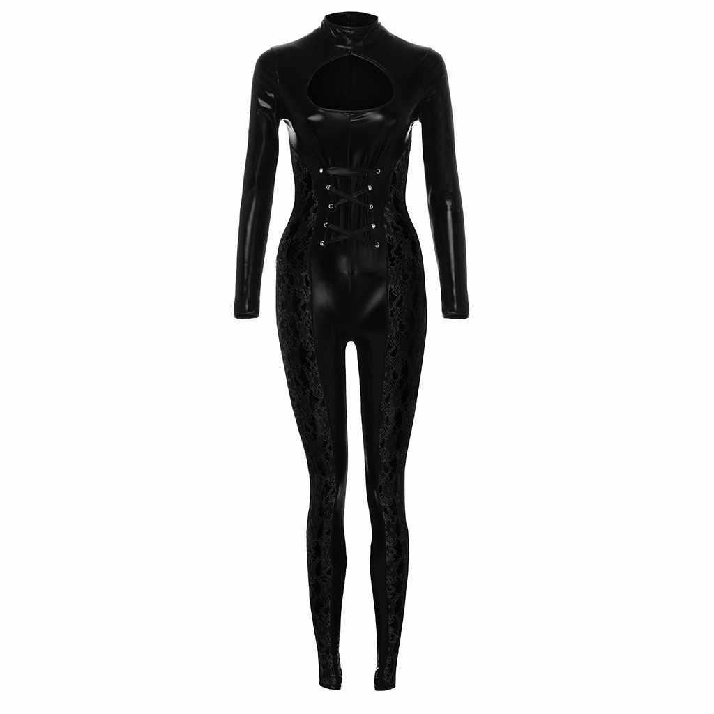 Модный сексуальный кожаный костюм кружевное белье femme сексуальные костюмы комбинезон вечерние Клубные колготки комбинация женские эротические #79