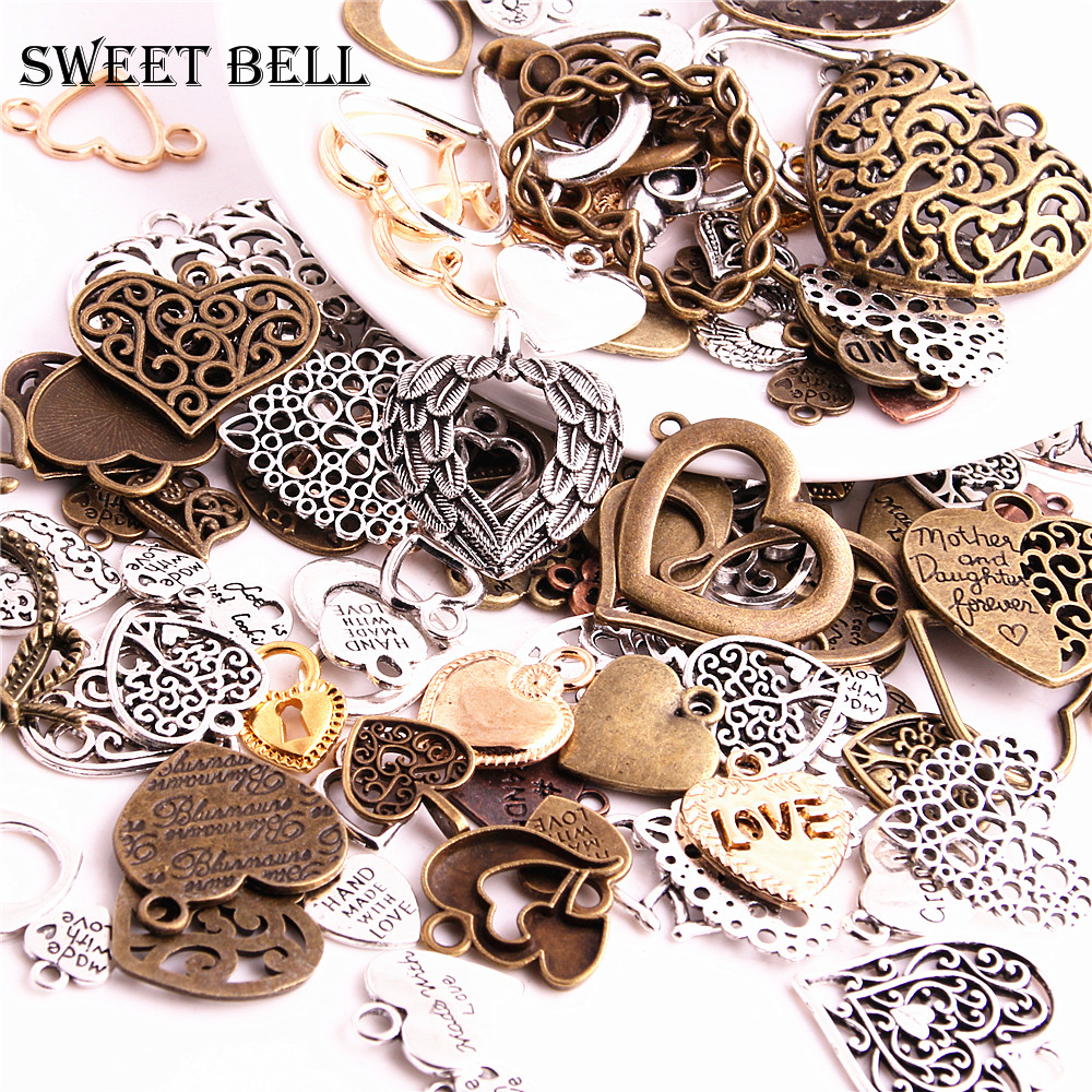 100pcs Vintage Metal Mixed Hearts Charms Fashion Retro love Pendant Charms for Jewelry Making Diy Handmade Jewelry H3019