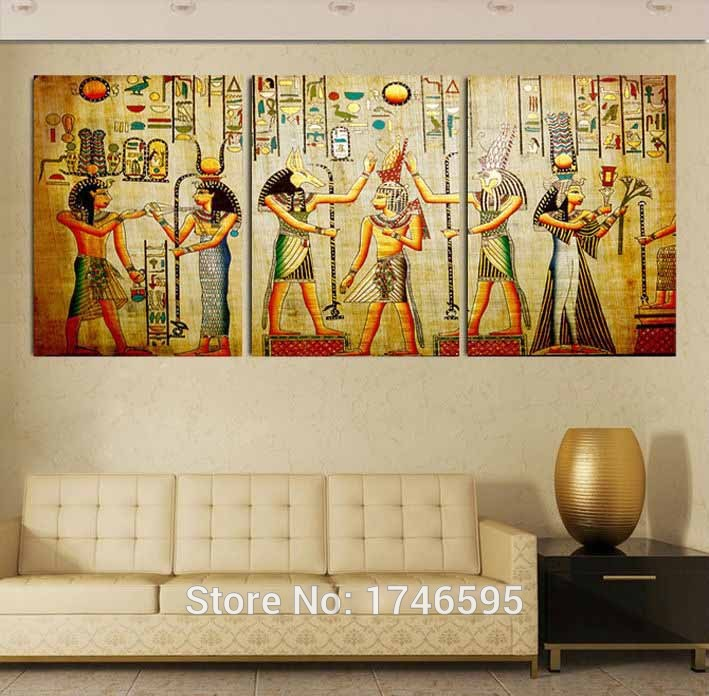 Big size 3pcs Modern living room home decor abstract Egyptian Escape Wall Art Picture printed oil Painting on Canvas art prints