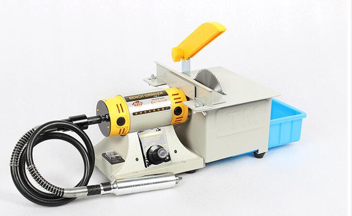 220V Trim Saw Machine Gemstone Cutting Machine Bench Grinder with Shalft 2pcs 6 Baldes and 1 Polishing Wheels 1 handpiece