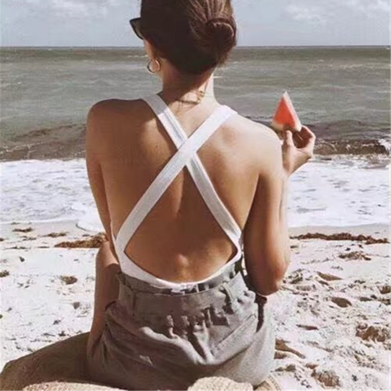 4 Colors 2018 Summer Casual Solid Color Bodycon Beach Jumpsuit Women Black Elastic Backless Sexy Bodysuit