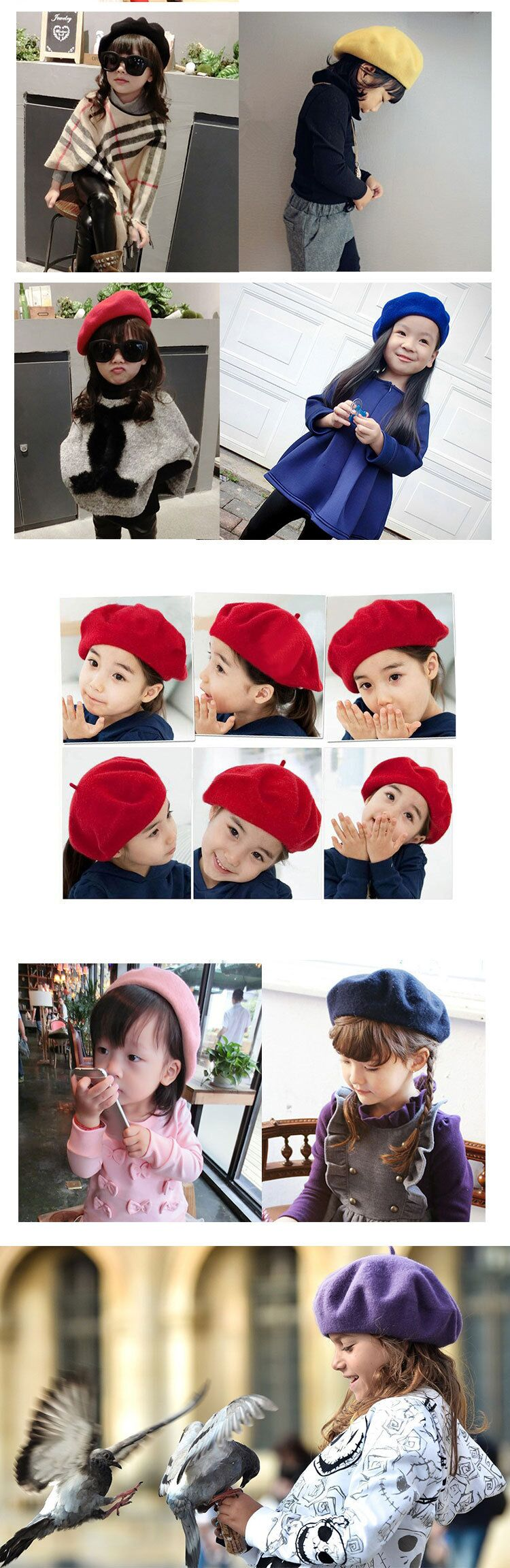 kids beret winter cute black red wool beret hat cap berets girls hat painter hat 2to8 years old  (11)