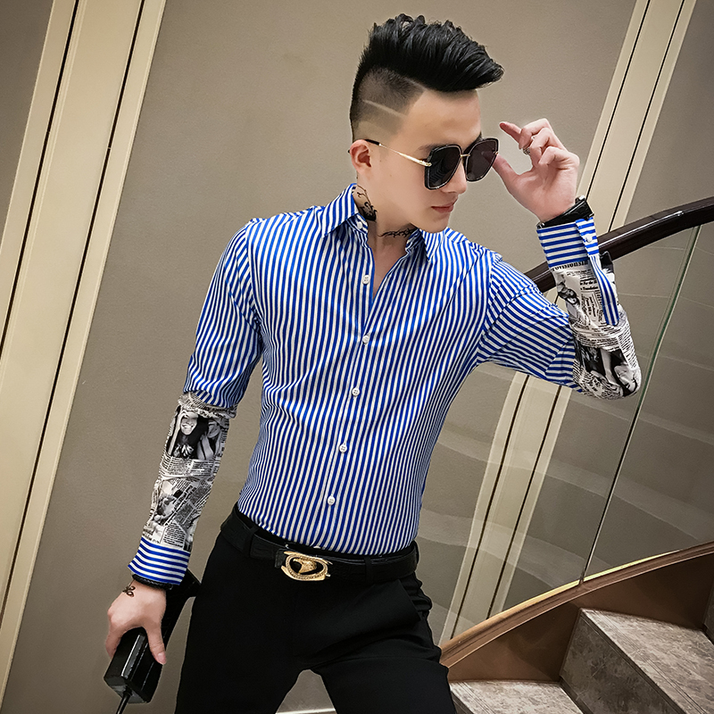 Autumn New Striped Shirt Men Brand Newspaper Print Spliced Long Sleeve Men Shirt Slim Fit Casual Formal Shirts Men Clothes 2019