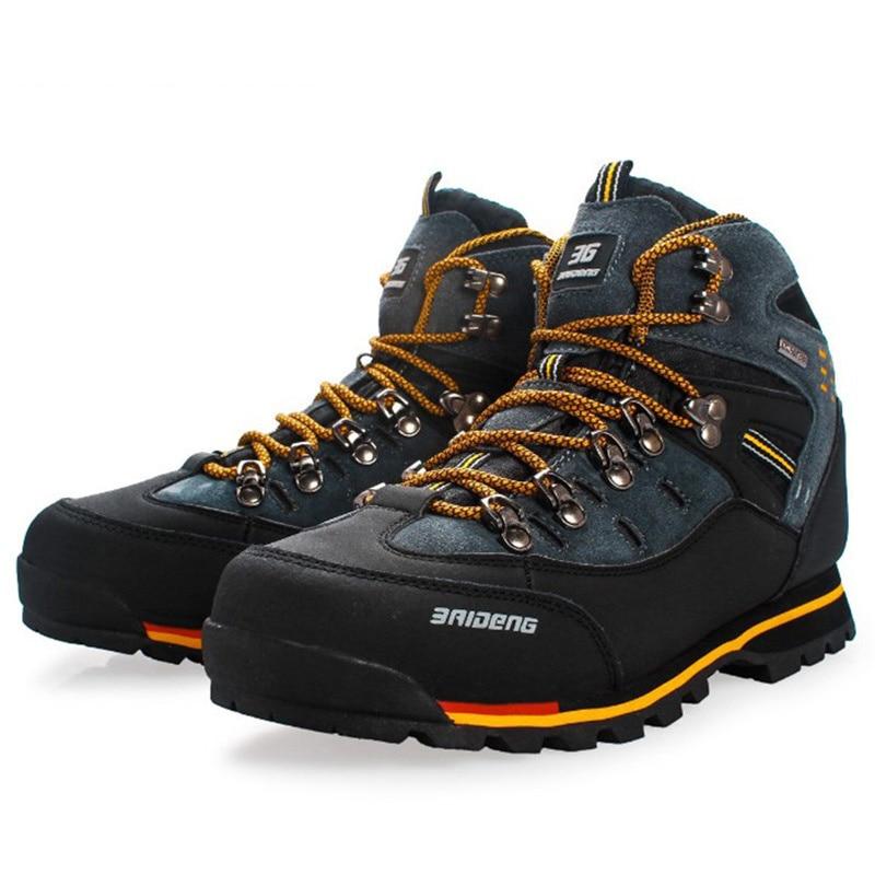 bed68d4842 Homens de Couro À Prova D' Água de Calçados esportivos Respirável Masculino  Bota de Trekking Ao Ar Livre Escalada Caminhadas Esporte Sapatos Botas ...