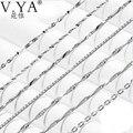 Atacado 100% Real Pure 925 colar de Prata cadeia de onda de Água-de cadeia de caixa de cadeia de lâmina para as mulheres top quality Fine Jewelry