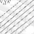 Wholesale 100% Real Pure 925 Sterling Silver necklace Water-wave chain box chain blade chain for women top quality Fine Jewelry