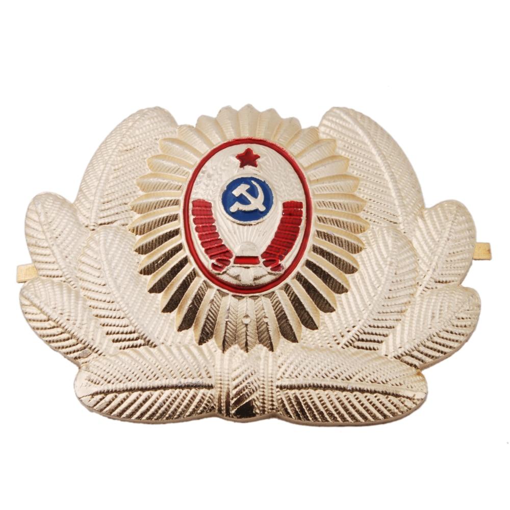 RUSSIAN SOVIET OFFICER POLICE USSR METAL CAP HAT BADGE COCKADE - 36278