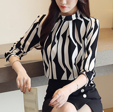 2018 new arrived fashion stripe women blouse long sleeved printed top stand collar slim fit office lady blusa 833F