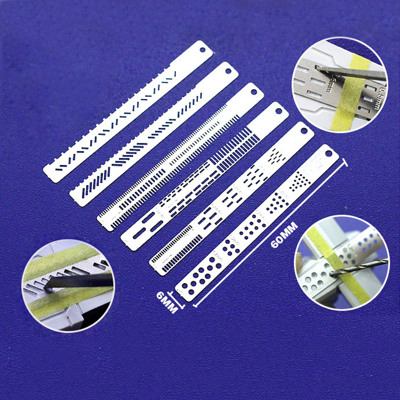 6pcs/set Sci-fi Model Detail Renovation Marking Auxiliary Rule Stainless Steel/Perforated Marking Rules