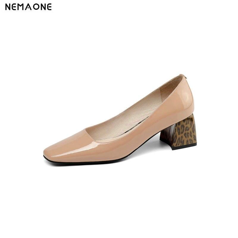 Ayakk.'ten Kadın Pompaları'de NEMAONE Yeni Kadın Ayakkabı 2019 Kadın Hakiki deri ayakkabı Ofis Kariyer Ayakkabı Kadın Yüksek Topuklu Iş Bayan Ayakkabı Pompaları'da  Grup 1