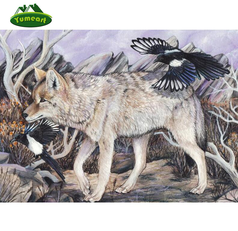 YUMEART Diamond Embroidery Wolf and Black Birds Diy Diamond Painting Cross Stitch Animal Full Coverage 3d Mosaic Home Wall Dcor