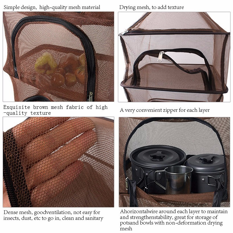 Image 4 - Camping Dry Net Storage Basket Shelf  Portable Folding 4 Layer Hanging Mesh Foods Dish Outdoor Campping BBQ Tableware Picnic Bag-in Picnic Bags from Sports & Entertainment
