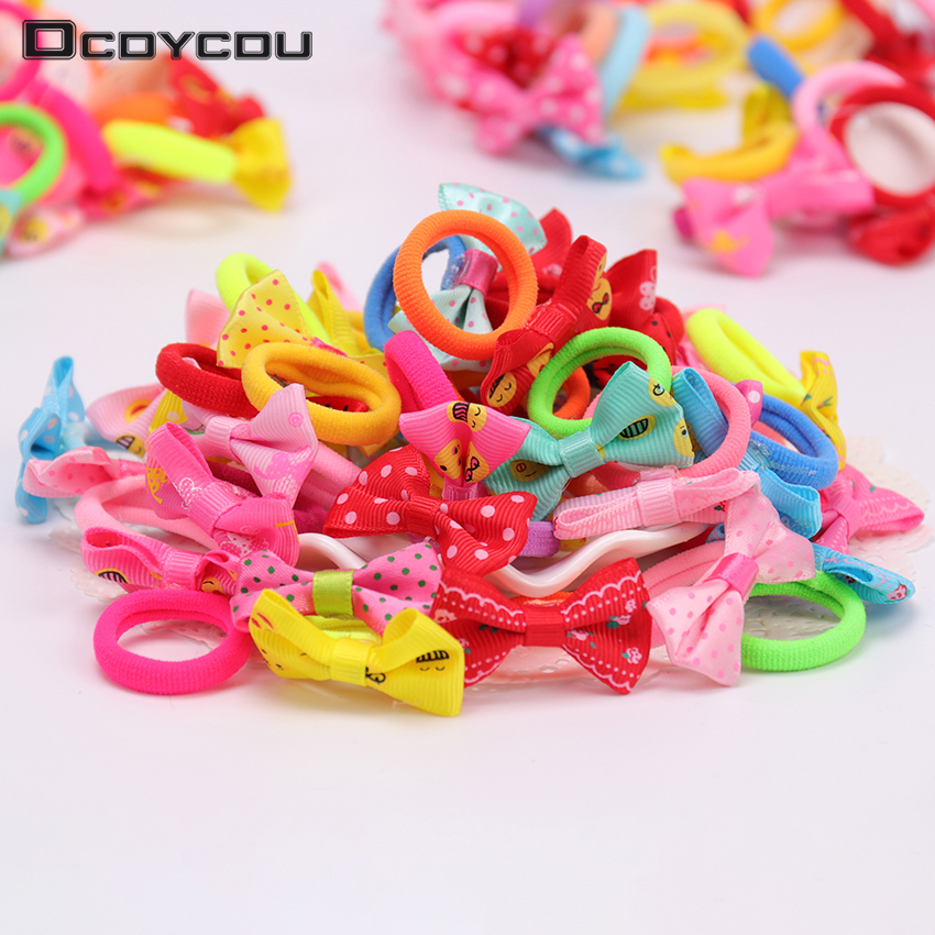 10PCS Mix Color Cute Bow Elastic Hair Bands Sweet Girls Rubber Hair   Headwear   Ponytail Holder Hair Accessories for Women Girls