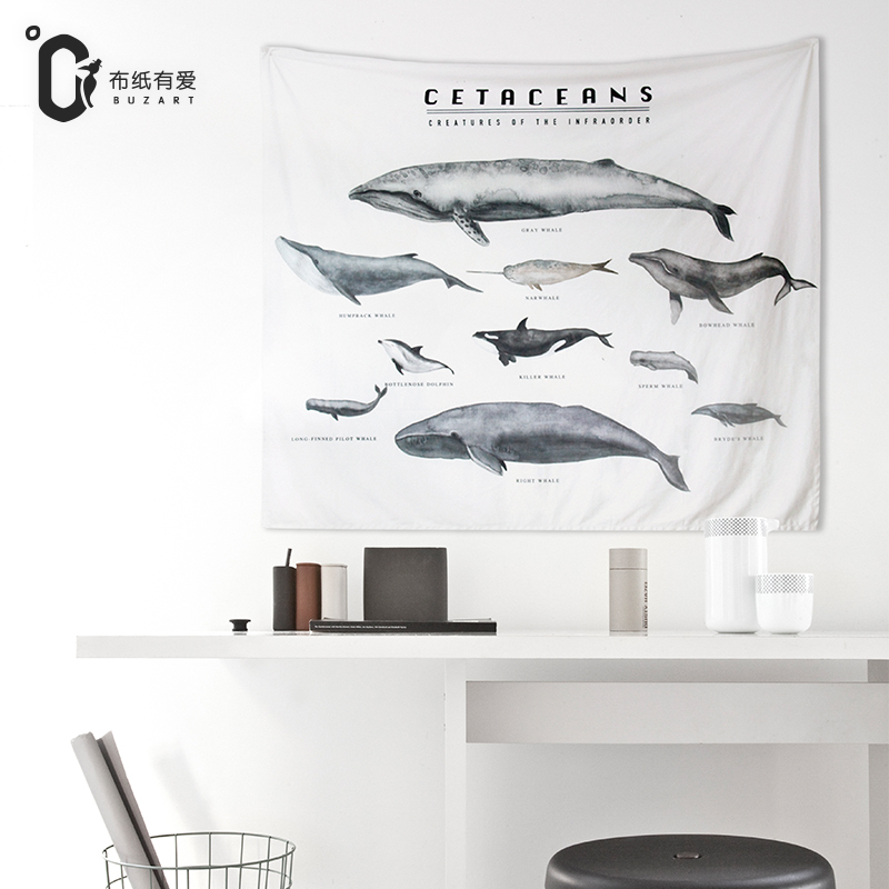 Buzart whale print wall tapestry for Home Decorative Tapestry Hanging Wall Carpet 130x152cm
