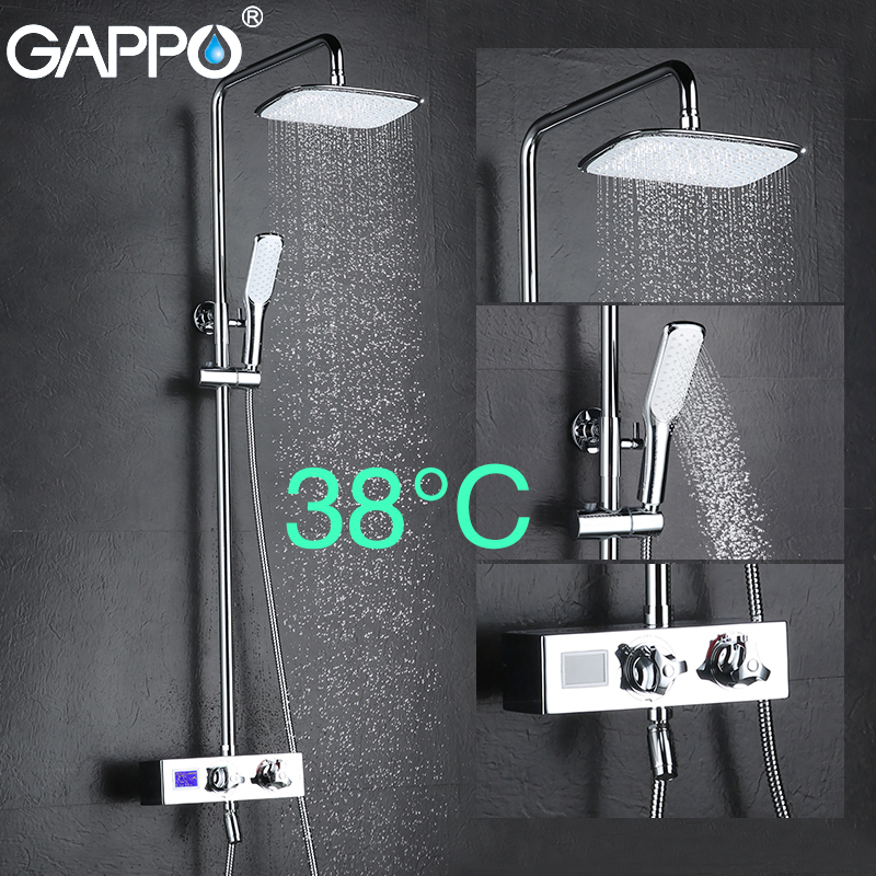 GAPPO shower faucet bathroom shower set thermostatic mixer LCD Digital Display shower mixer tap Torneira de