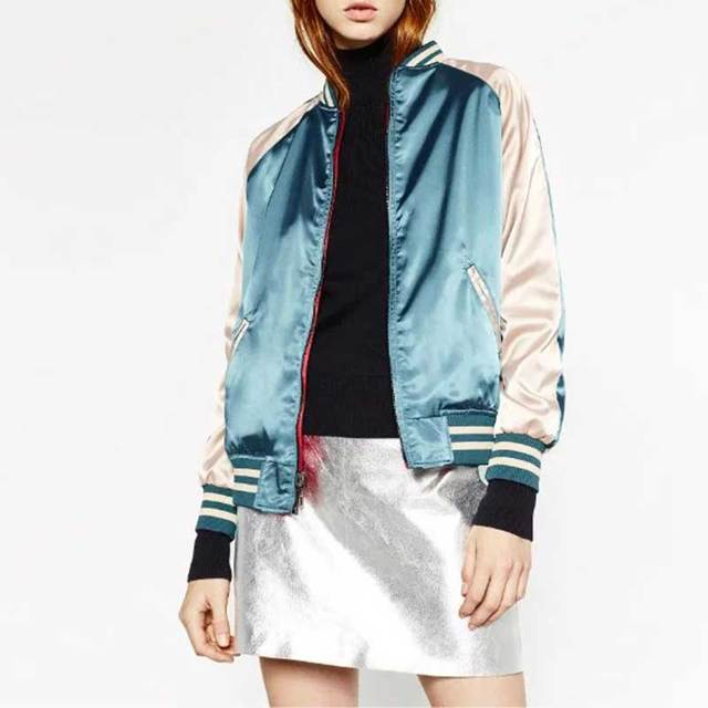 Satin Both Sides Reversible Bomber Jacket