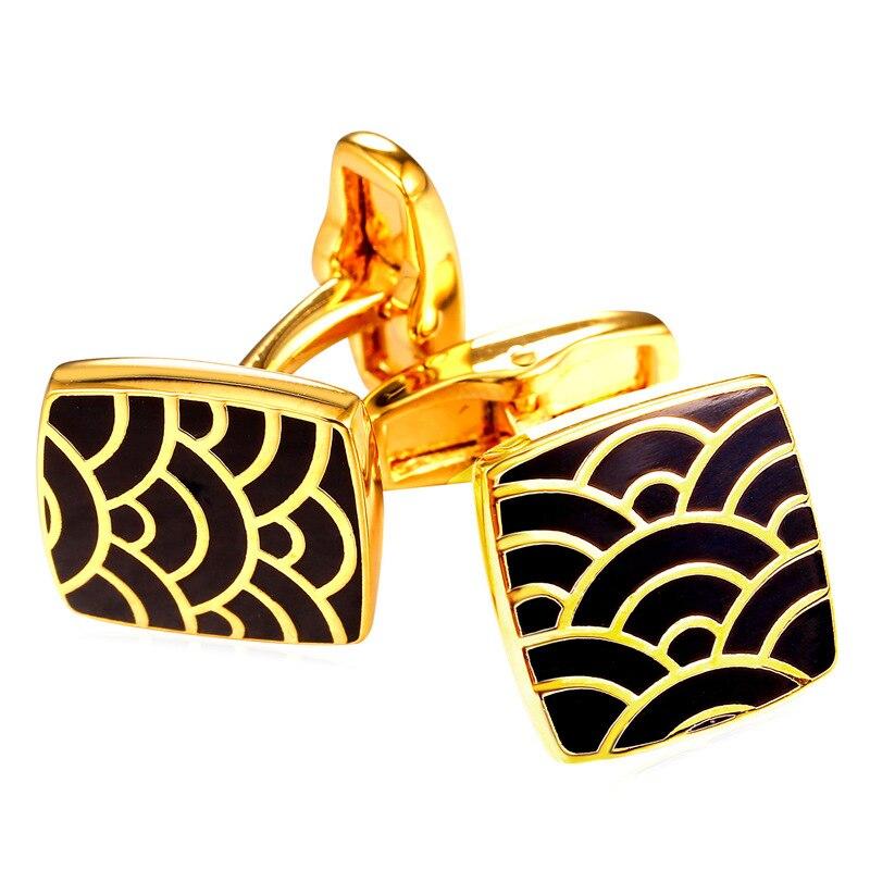 Gemelos dorados Kpop Vintage para hombre, gemelos dorados con forma de mar, venta al por mayor, abalorios para hombre, joyería para regalo, fiesta, C326