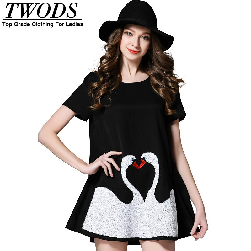 Twods Plus Size 5XL Sequins Swan Summer Mini Dress Fashion Brand Design A line  Loose Short Dresses XXL XXXL Black White-in Dresses from Women s Clothing on  ... 3d5a983290ed