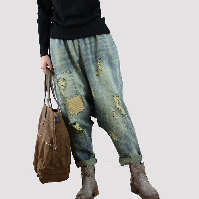 Pantalon Model Denim Entrejambe Patchwork Taille Nouvelle Trou Femme Automne Pantalons Pour Baggy Elastique Lâche Jeans 2019 Femmes Color Déchiré Rétro Owg6Uq7Apn