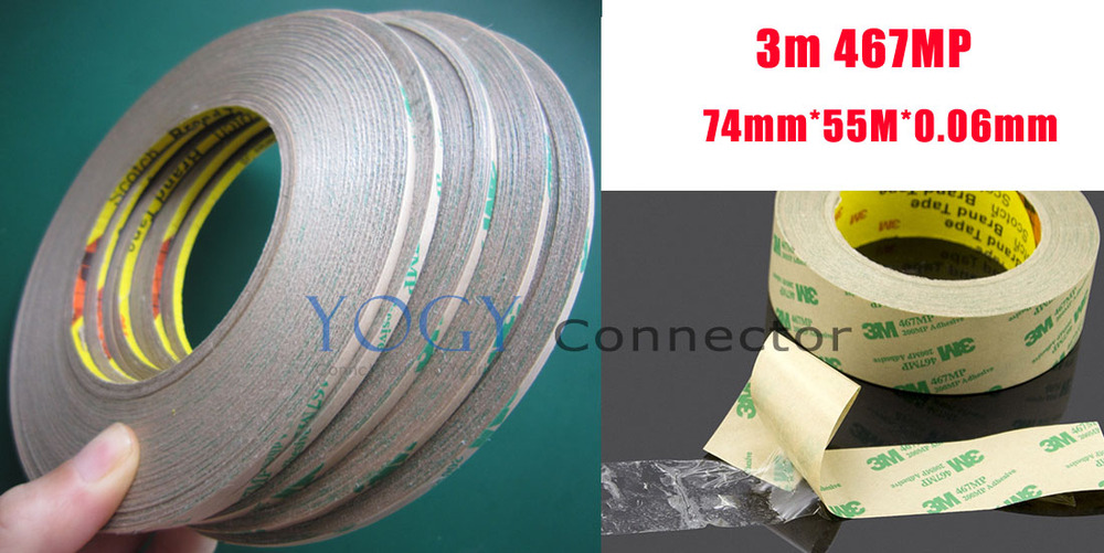 1x 74mm Ultra Thin 3M 467MP Double Sided Tape Sticky, Hi-Temp Resist, Panel Adhesive 1x 160mm 55m 3m 9495le 300lse super strong sticky double sided adhesive tape waterproof high temp withstand industrial bond