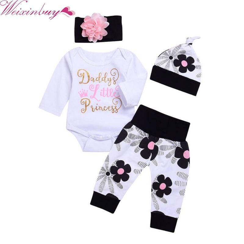 4 unids/set recién nacido, ropa de bebé niña traje de manga larga de algodón mameluco Tops + Floral pantalones diadema traje de niño ropa de niños caliente