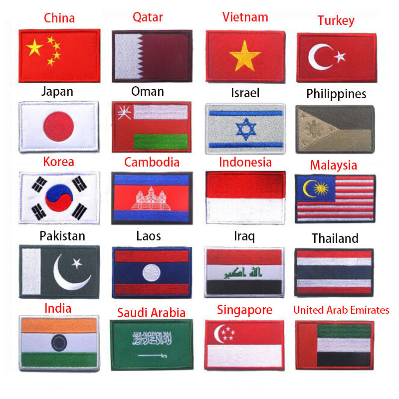Asian Flag South Korea Singapore Turkey Vietnam India Israel Saudi Oman Philippines 3D Flag Patch Jacket Denim Clothing Patch
