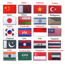 Asian Flag South Korea Singapore Turkey Vietnam India Israel Saudi Oman Philippines 3D Flag Patch Jacket Denim Clothing Patch(China)