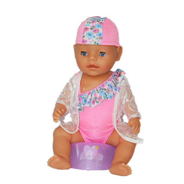 New Arrival 43cm Baby Doll Clothes Doll Bathing Suit With Hat Rash Guards Doll  Accessories Children Best Gift ZD173 77309b81e9a6