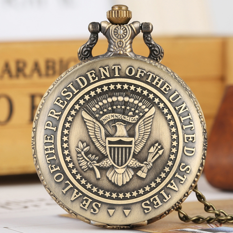 Seal Of The President Of The United States Of America White House Donald Trump Quartz Pocket Watch Art Collections For Men Women