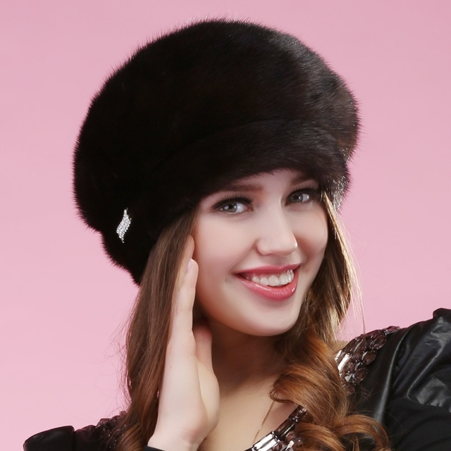 2015 autumn winter Super warm fashion vogue fad mode  show women mink fur Russian style cap lady luxur fur hat famous band new