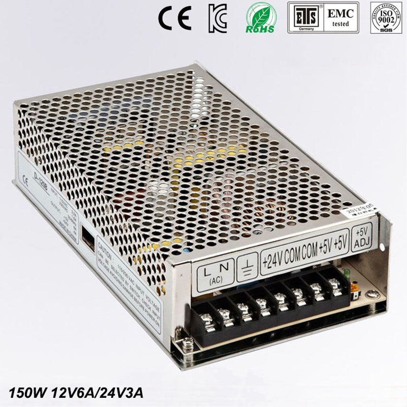 Best quality double sortie 12V 24V 150W Switching Power Supply Driver for LED Strip AC 100-240V Input to DC 5V 24V free shipping 36pcs best quality 12v 30a 360w switching power supply driver for led strip ac 100 240v input to dc 12v30a